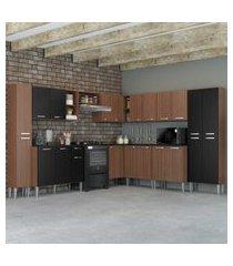 cozinha completa com armário e balcáo com tampo 10 peças pequim pop multimóveis carvalho avelá/preto