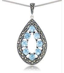 """blue topaz (2-3/8 ct. t.w.) & marcasite teardrop pendant on 18"""" chain in sterling silver"""