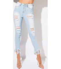 akira fiesta high rise fringe skinny jeans