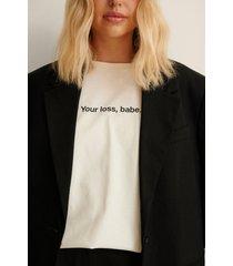 na-kd ekologisk ekologisk t-shirt med tryck - offwhite