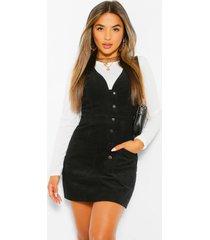 petite corduroy pinafore jurk met v-hals en knopen, black