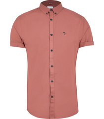 river island mens big & tall orange short sleeve oxford shirt