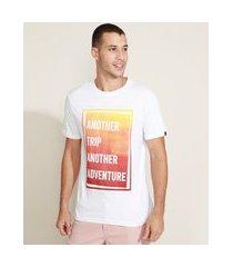"""camiseta masculina another trip another adventure"""" manga curta gola careca branca"""""""