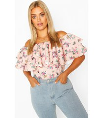 plus ditsy floral off the shoulder top, blush