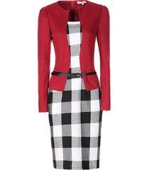new women work wear long sleeve patchwork plaid peplum dress with belt