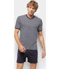 pijama hering curto listrado masculino - masculino