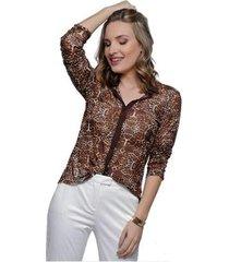 camisa sob onça animal print manga longa feminina