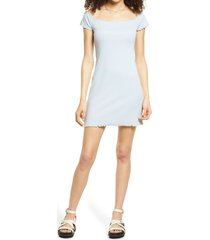 women's bp. convertible neck rib dress, size large - blue