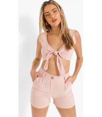 linnen look crop top met krijtstrepen en strik en shorts, rose