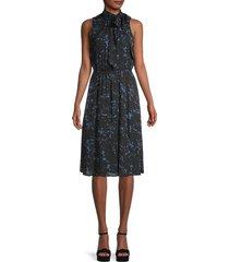 donna karan women's sleeveless print dress - black multi - size xs