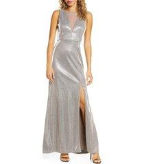 women's morgan & co. shimmer v-back trumpet gown