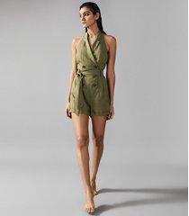 reiss merritt - linen blend halterneck playsuit in olive, womens, size 10