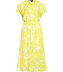women's halogen ruched sleeve midi dress, size large - yellow