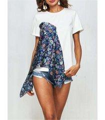 magliette casual o-collo patchwork con stampa floreale