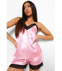 petite satijnen gestreepte pyjama set met shorts en kanten zoom, pink