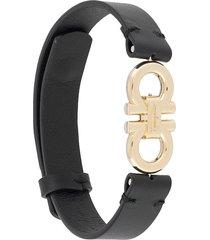 salvatore ferragamo gancini buckle bracelet - black
