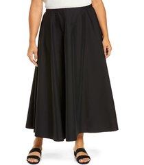 plus size women's lafayette 148 new york helena stretch cotton blend skirt, size 18w - black