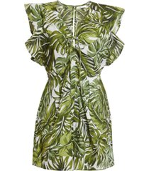 bcbgeneration tropical-print ruffled romper