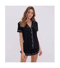 pijama curto listra americana com bolso | lov | preto | gg