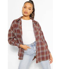 oversized dipped hem flanneled shirt, berry