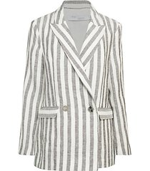 striped double-breasted linen jacket