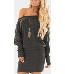 grey off shoulder knit long sleeves mini dress