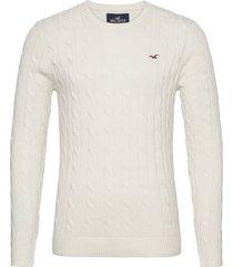 hco. guys sweaters stickad tröja m. rund krage creme hollister