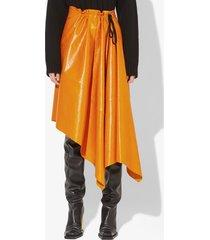 proenza schouler asymmetrical leather mid skirt light saffron/orange 4