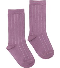 women's nico rib plant dyed organic cotton socks, size one size - purple