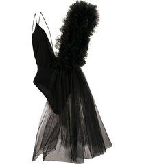 alchemy asymmetric tulle-embellished bodysuit - black