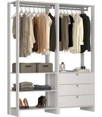 guarda roupa closet 2 peças c/ 2 cabideiros 3 gavetas e 4 nichos yes nova mobile branco