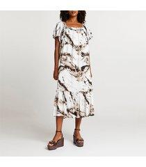 river island womens beige tie dye shirred midi dress