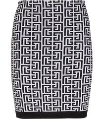 balmain short high waist glitter monogram skirt
