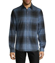 natural stretch-fit plaid shirt