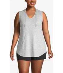 lane bryant women's active hooded tunic tank 22/24 heather gray