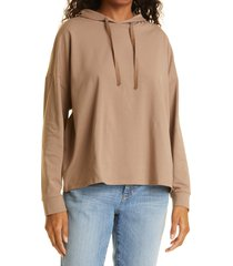 women's eileen fisher stretch organic cotton hoodie, size x-large - brown