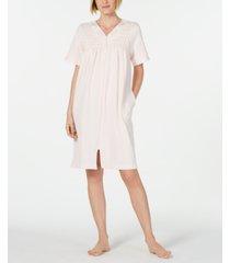 miss elaine smocked waffle-knit zip robe