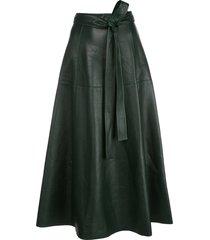 oscar de la renta tie-waist a-line skirt - black