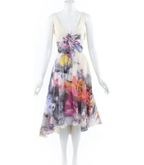 lela rose watercolor floral voile dress multicolor/floral print sz: custom