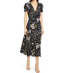 women's madewell puff sleeve wrap front midi dress, size 6 - black
