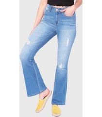 jeans wados flare un botón azul - calce holgado