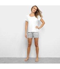 pijama lupo camiseta manga curta + shorts listrado feminino