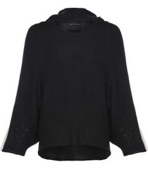 casaco poncho listra manga fyi - preto