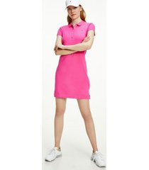 tommy hilfiger women's slim fit stretch polo dress hot magenta - xl