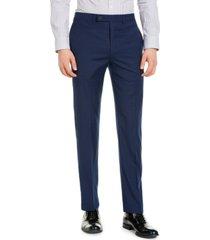 calvin klein men's slim-fit performance stretch wrinkle-resistant mini check dress pants