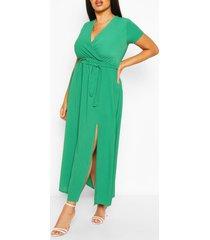 plus wrap cap sleeve maxi dress, green