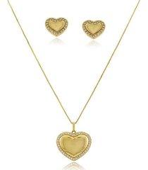 conjunto de coração cravejado com zircônias em volta em banho de ouro 18k