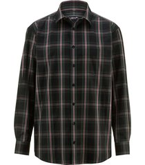 overhemd men plus zwart::dennengroen