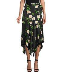 floral silk midi wrap skirt