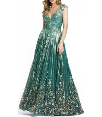mac duggal embellished a-line gown